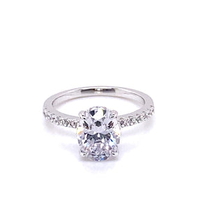 Oval Cut Crushed Ice Silver Ring