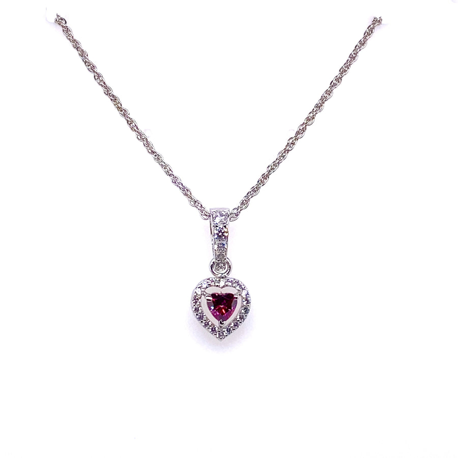 Ruby Swarovski Heart Shaped Earrings And Necklace Set