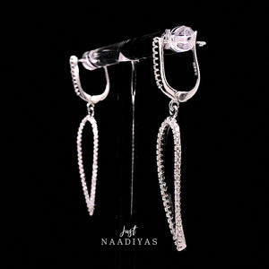 Sterling Silver Diamond Drop Earrings justnaadiyas.com