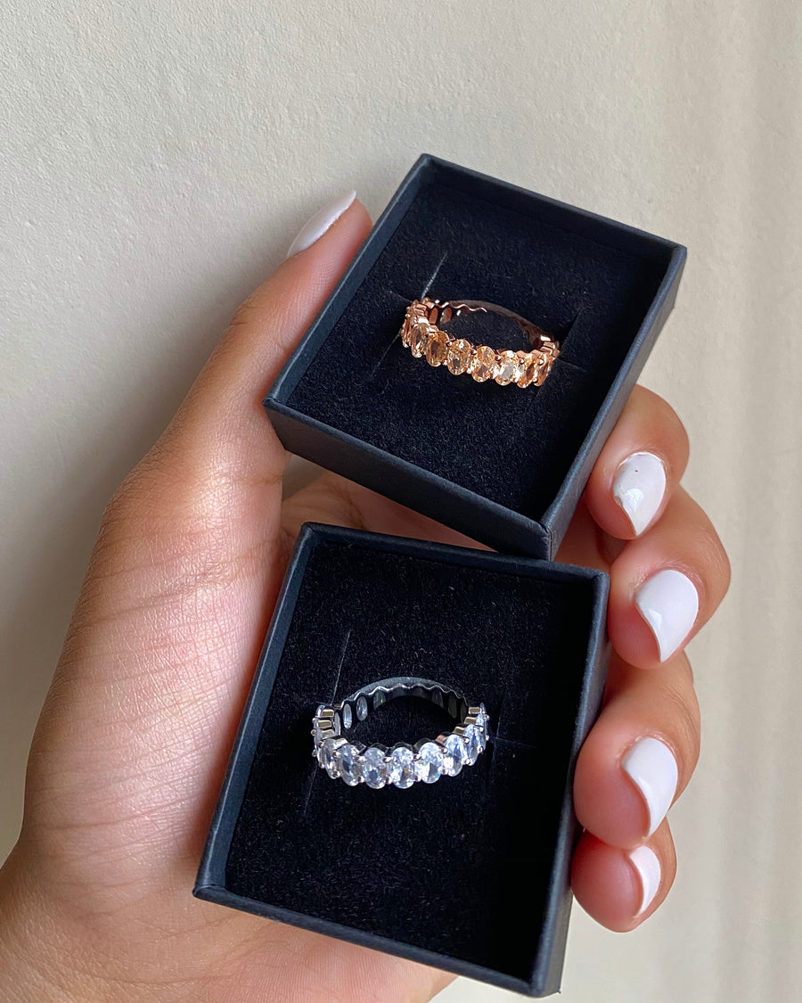Silver / Rosegold Oval Stacking Eternity Band