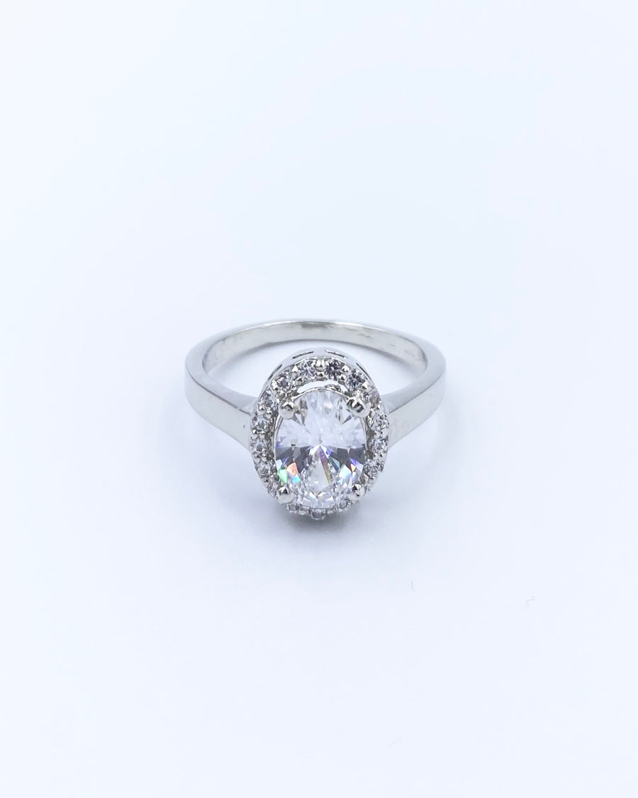 Rein Swarovski Silver Oval Cut Halo Ring