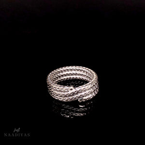 Silver Mens Rope Band Ring 6MM