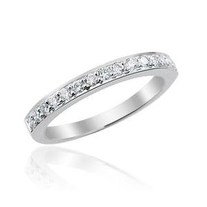 Round Brilliant Cut Grain Set Half Eternity Ring