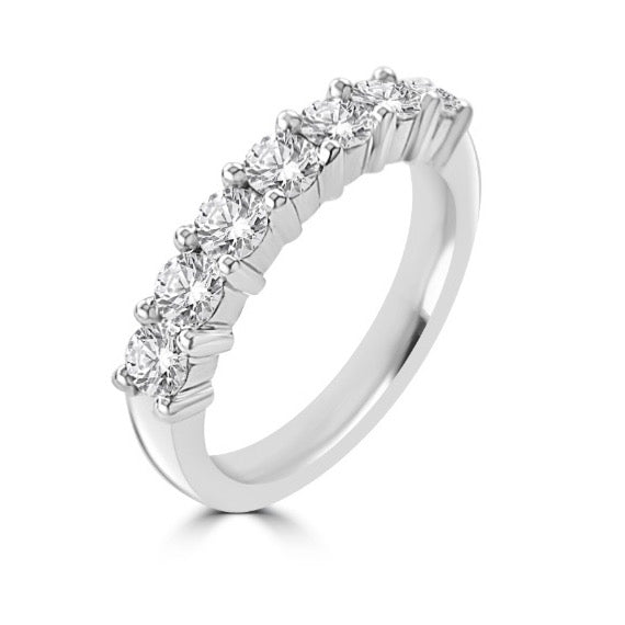 Round Brilliant Cut Shared Claw 7 Stone Half Eternity Ring