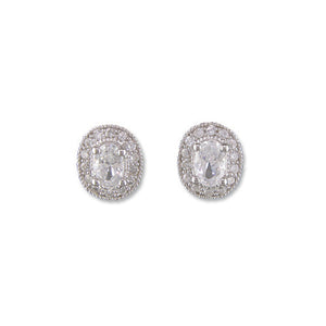 Oval Cut Halo Silver Stud Earrings