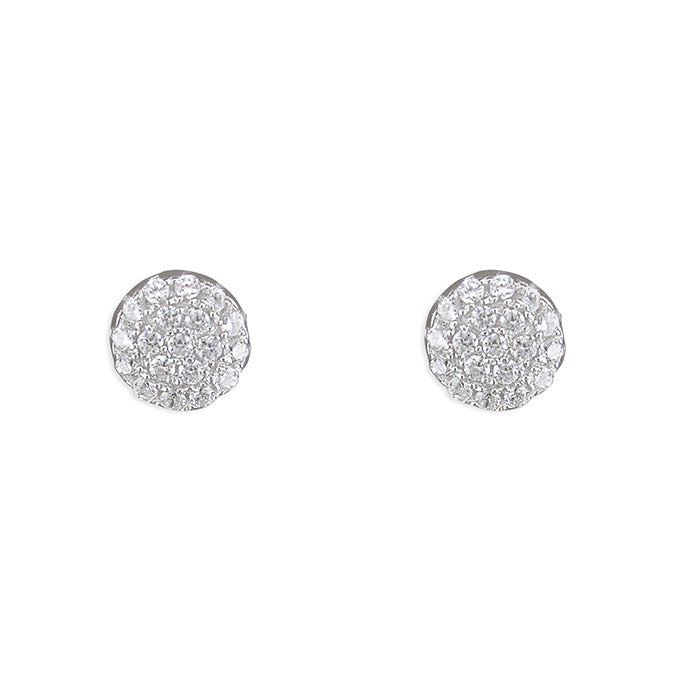 Pavé Set Round Cluster Silver Stud Earrings