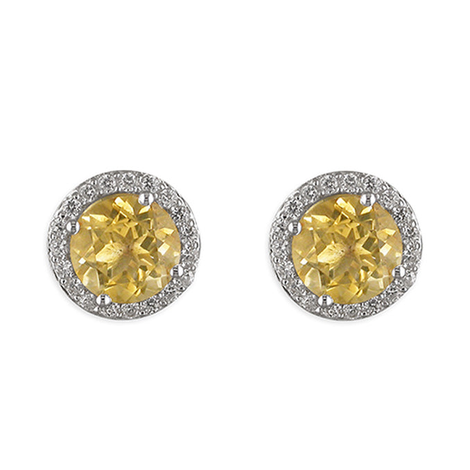 Round Cut Coloured Halo Stud Earrings - Citrine