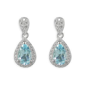 Blue Topaz Pear Cut Silver Drop Earrings