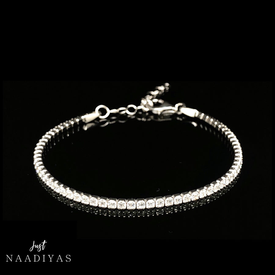 Simple Sterling Silver Tennis Bracelet www.justnaadiyas.com