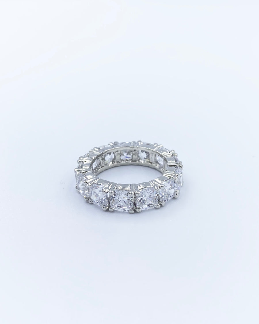 Ida Swarovski Silver Cushion Cut Eternity Band Ring