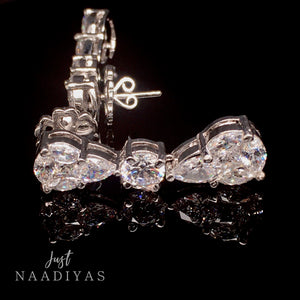 Sahar Swarovski Silver Drop Earrings