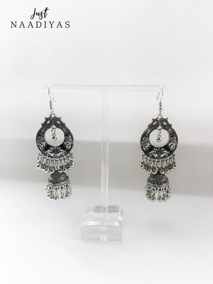 Black And Grey Jhumka Earrings justnaadiyas.com