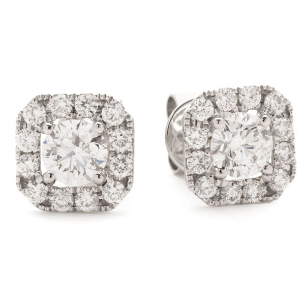 Diamond Square Cushion Halo Earrings