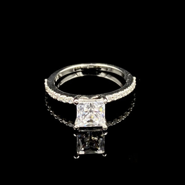 Lara Swarovski Silver Square Cut Ring