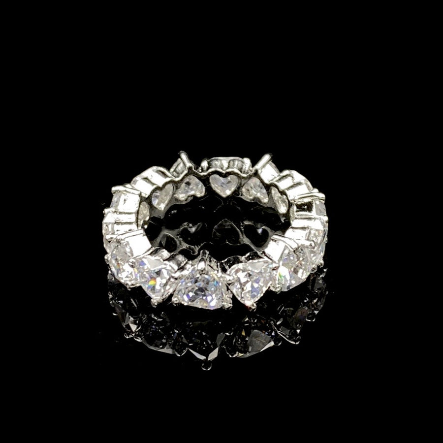 Naadiya Swarovski Silver Heart Cut Eternity Ring