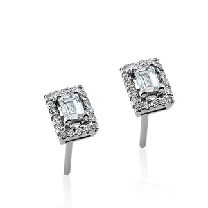 Diamond Baguette Frame Stud Earrings
