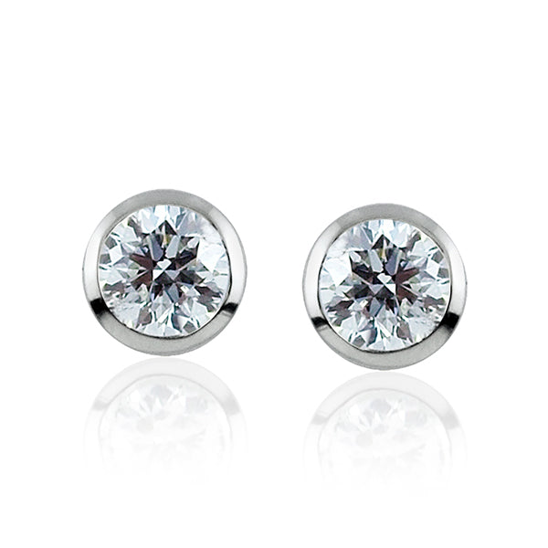 Diamond Round Brilliant Cut Rubover Earrings