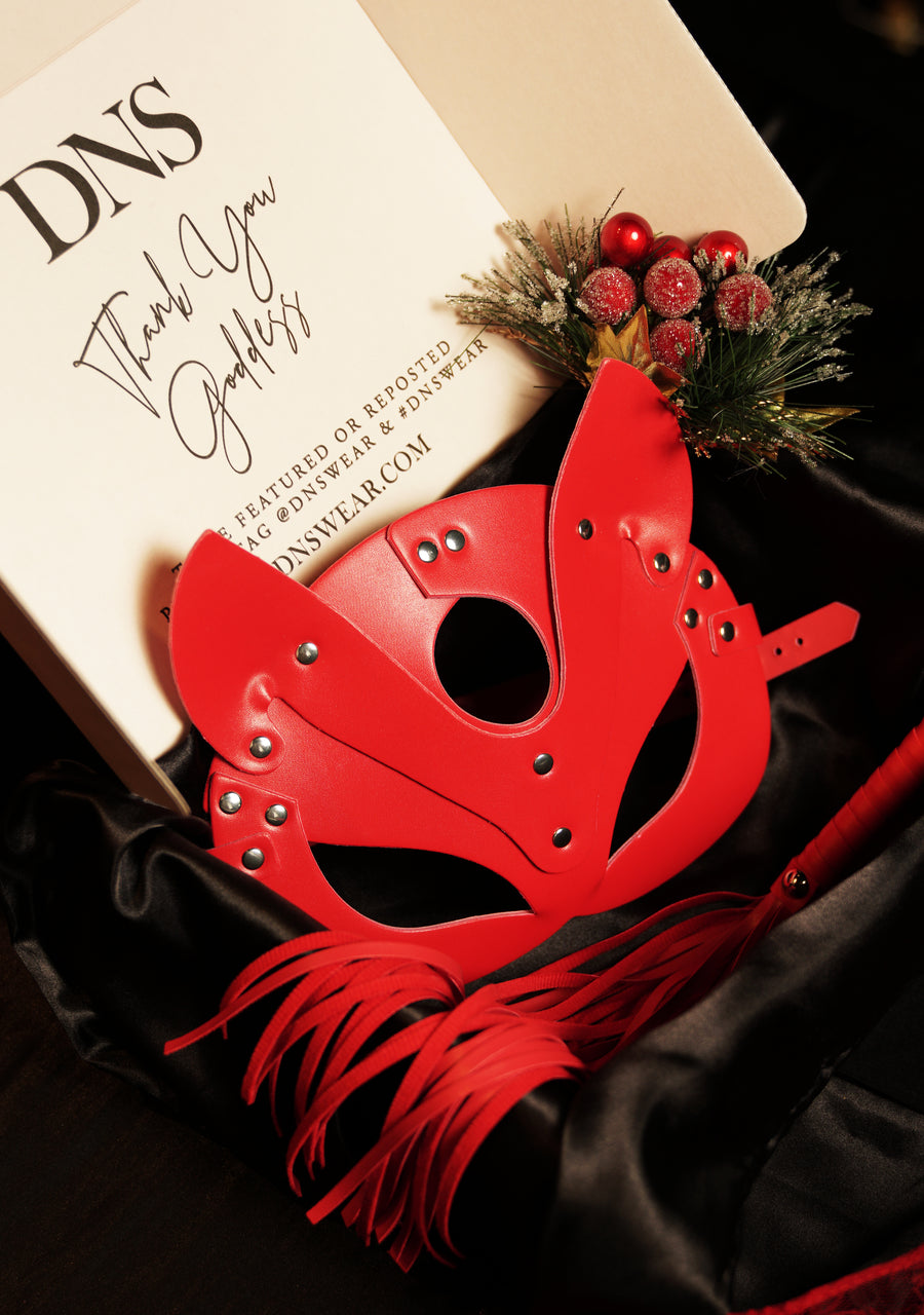 Red Cat Woman Mask & Red Whip Set