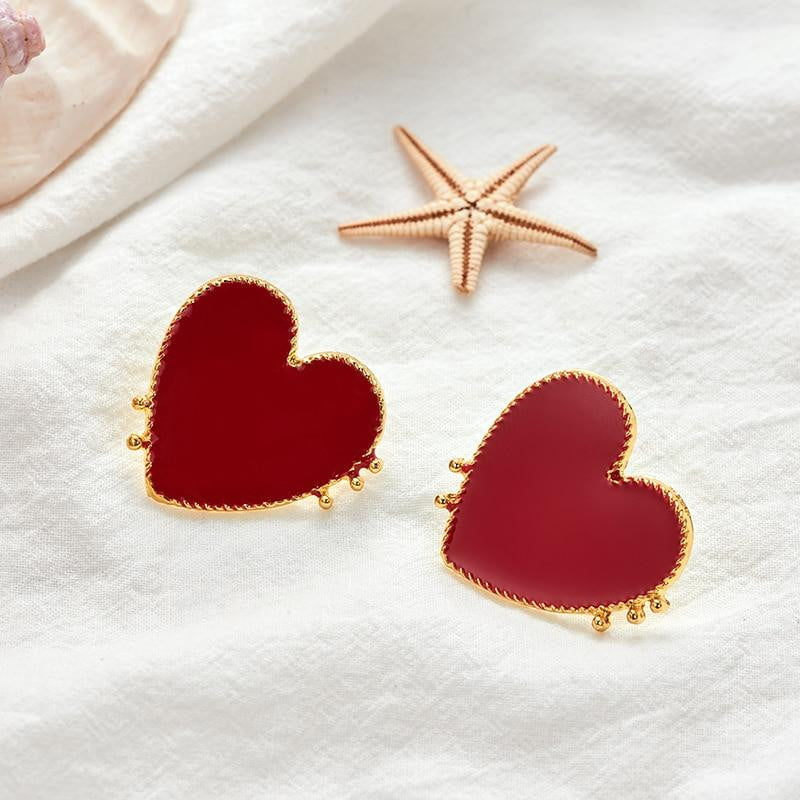 Gold Edge Red Acrylic Heart Stud Earrings For Women-Specialty Gifts