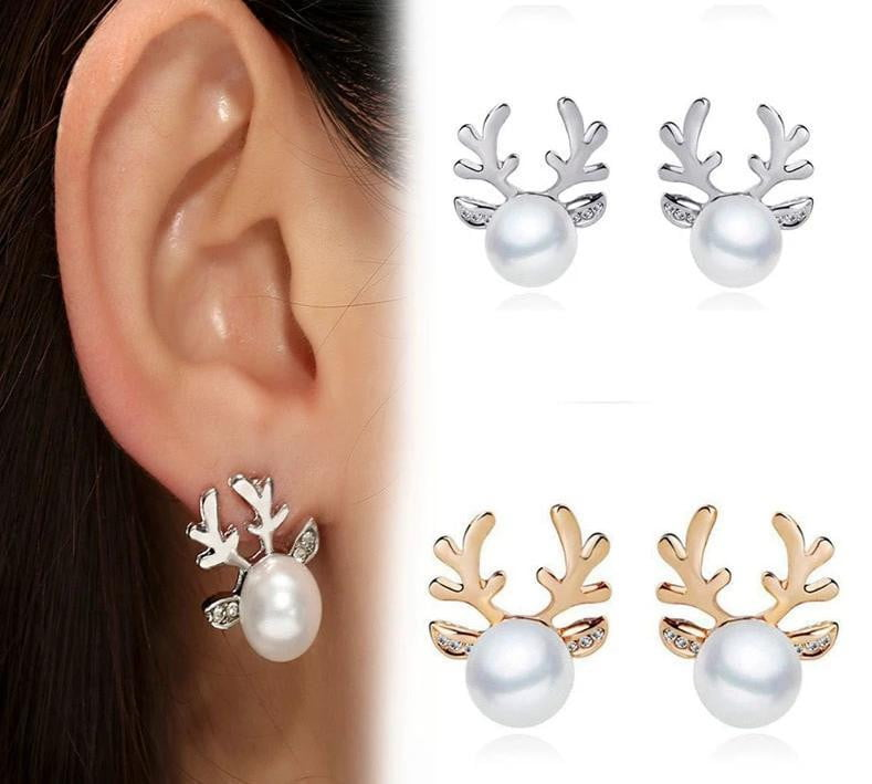 Christmas Pearl Deer Earring-Specialty Gifts