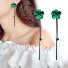 Load image into Gallery viewer, Retro Green Flowers Tassel Earrings-Specialty Gifts