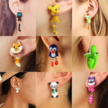 Load image into Gallery viewer, Cat Dog Rabbit Lion Flower Fox Penguin Animals Stud Earrings