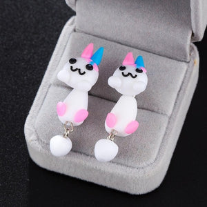 Cat Dog Rabbit Lion Flower Fox Penguin Animals Stud Earrings