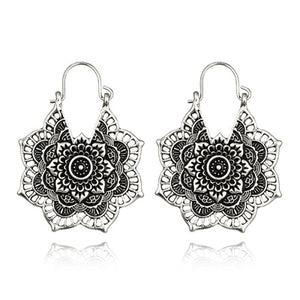 Vintage Mandala Flower Drop Dangle Earring