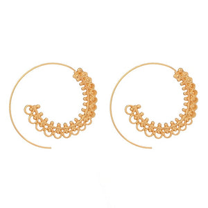 Ethnic Personality Round Spiral Drop Earrings