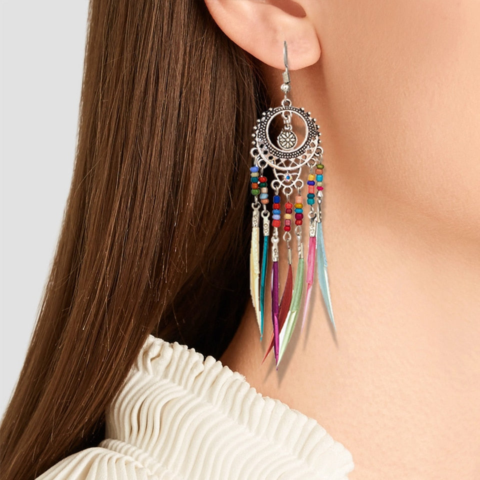 Ethnic Long Statement Colorful Tassel Drop Earrings