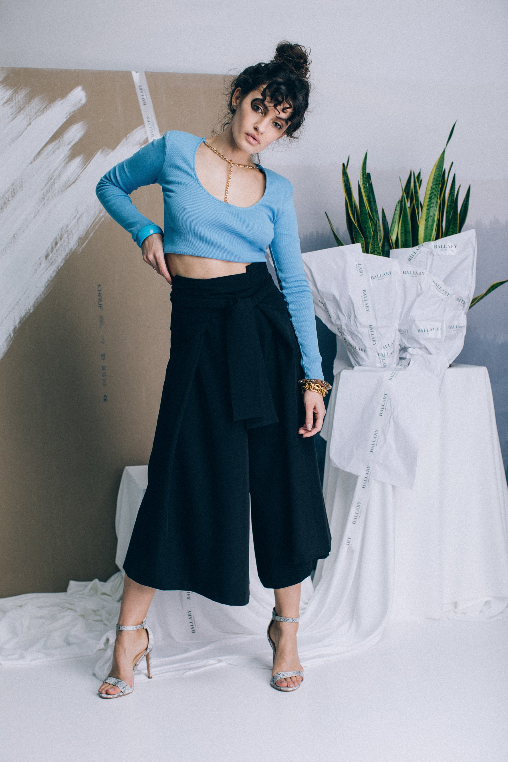 Culotte trousers with a wrap-style front