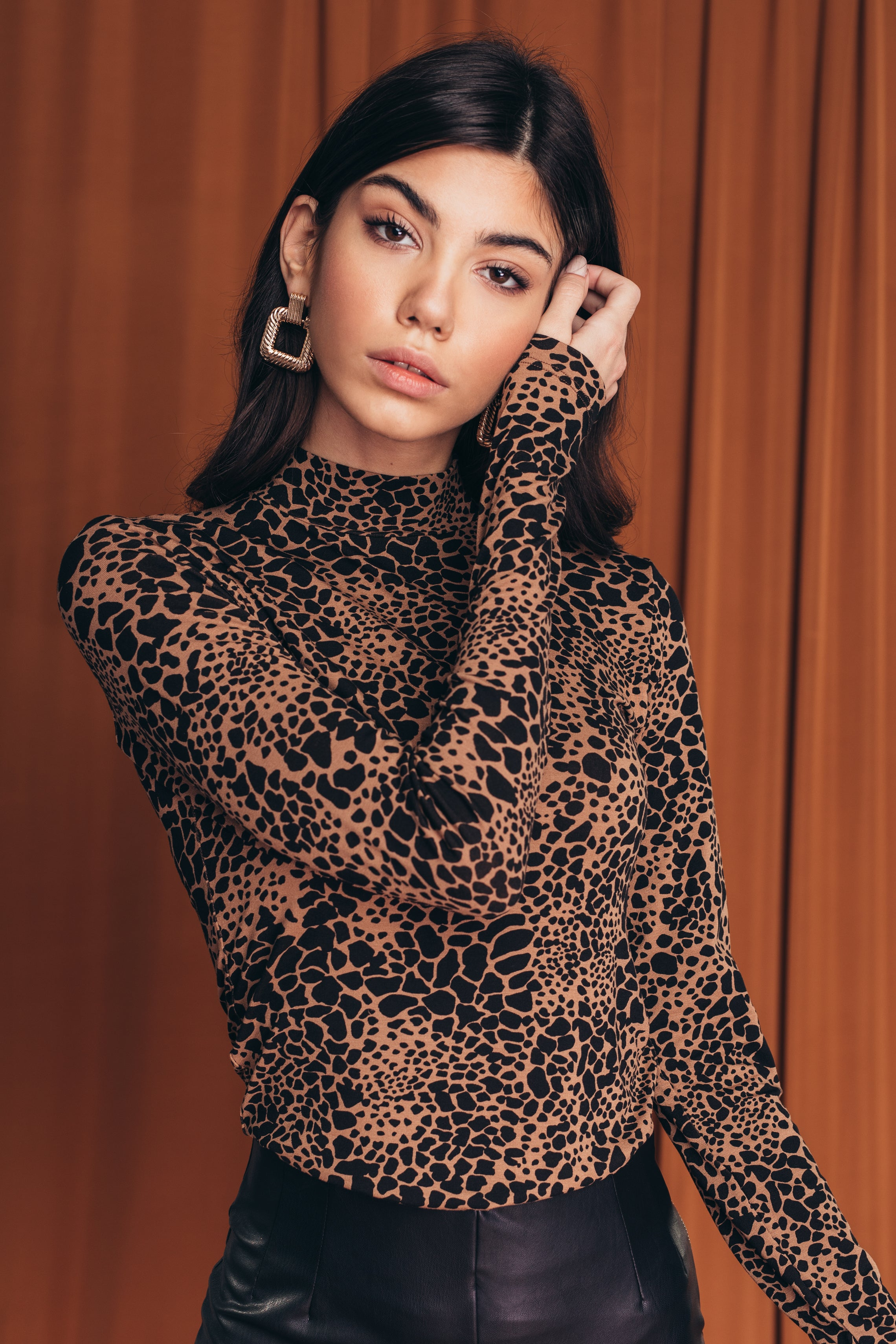 Animal print turtleneck