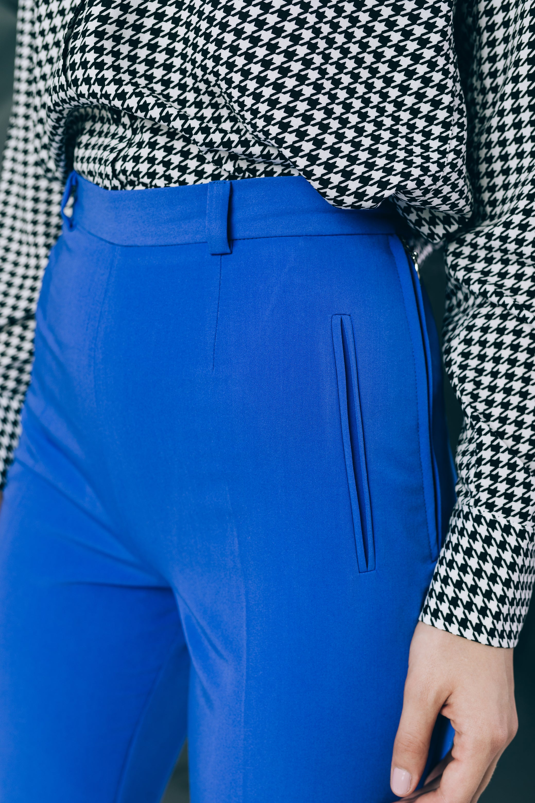High-waist trousers in spectrum blue