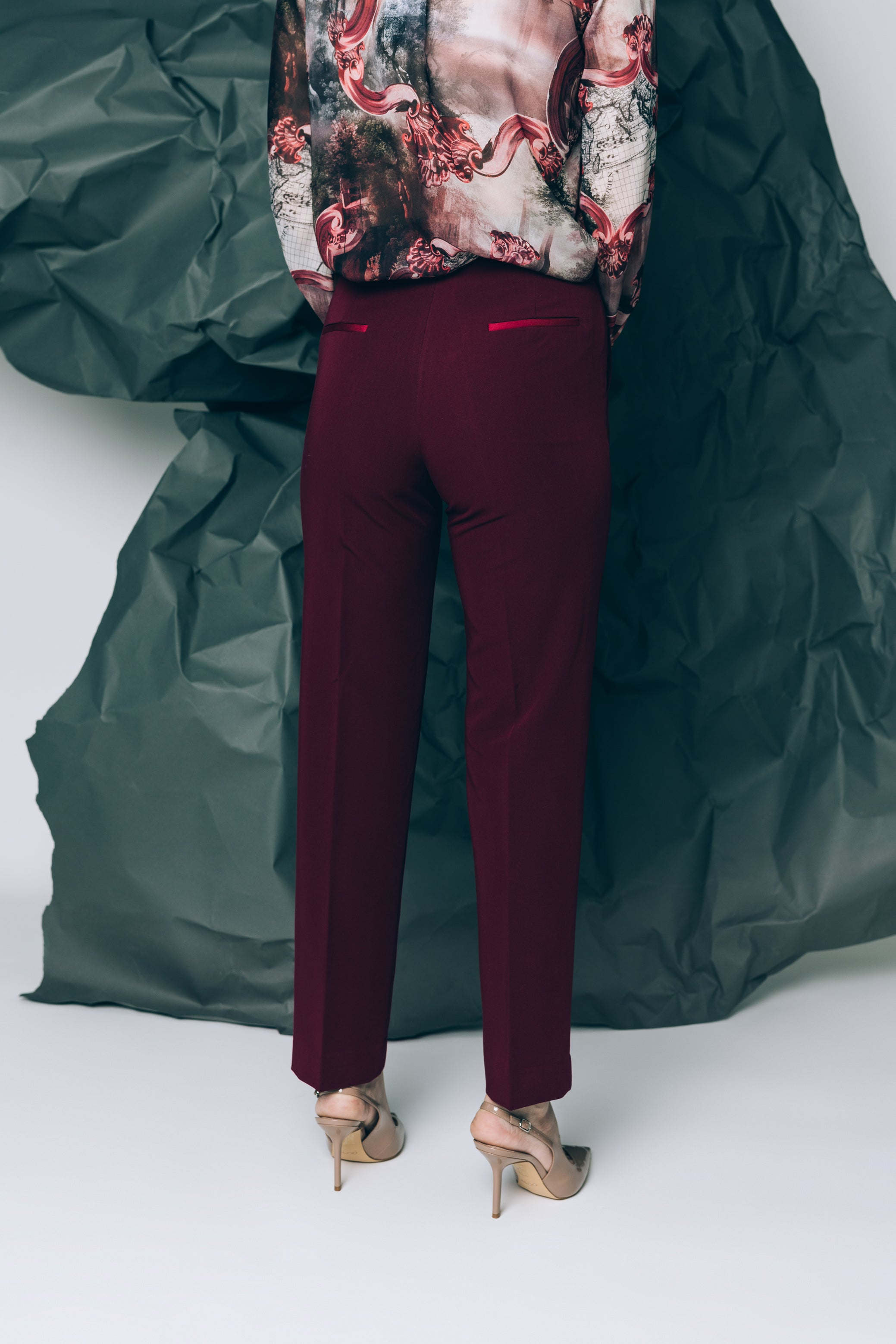 Bordeaux cigarette trousers with satin waistband