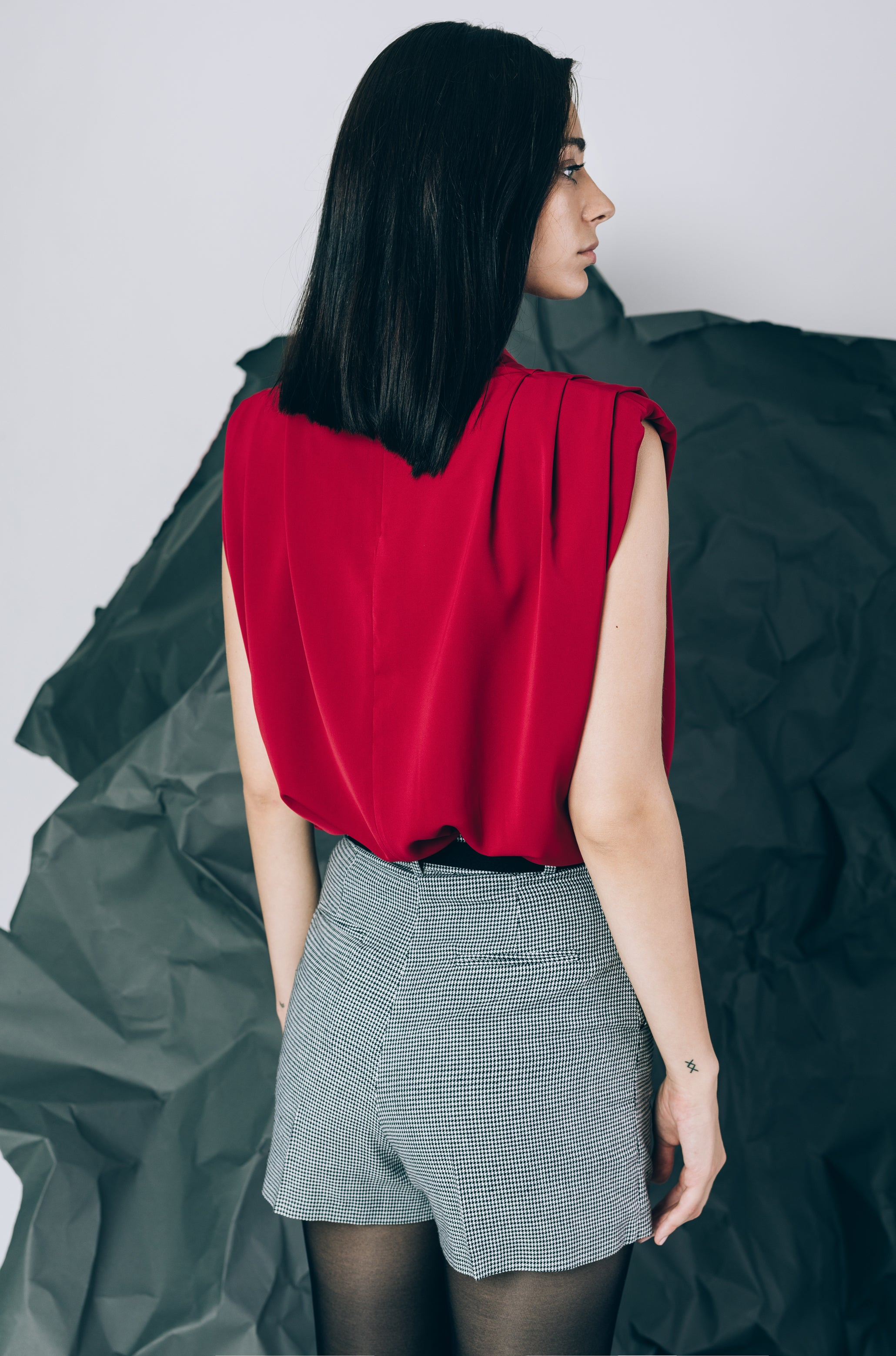 Cowl-neck top with shoulder pads