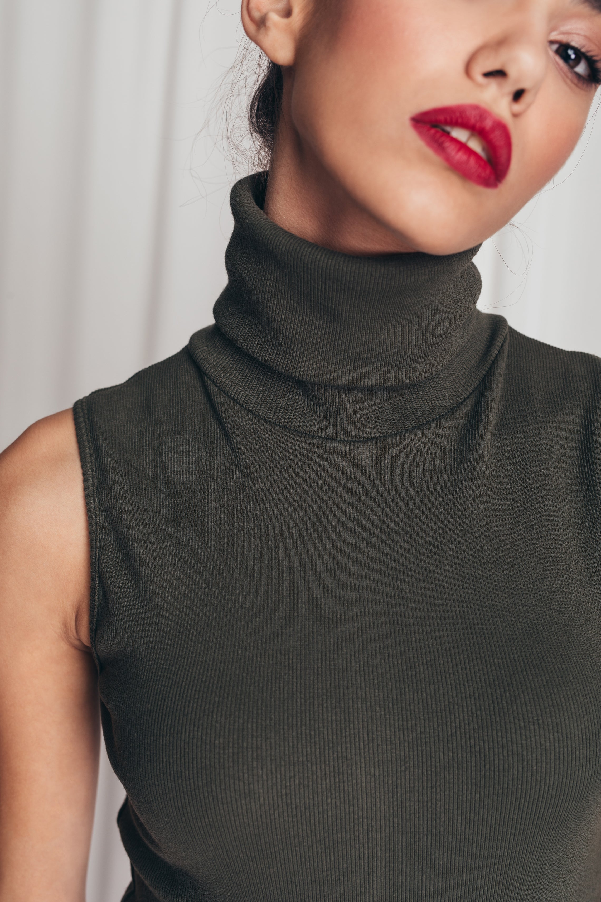 Ribbed bodysuit with turtleneck