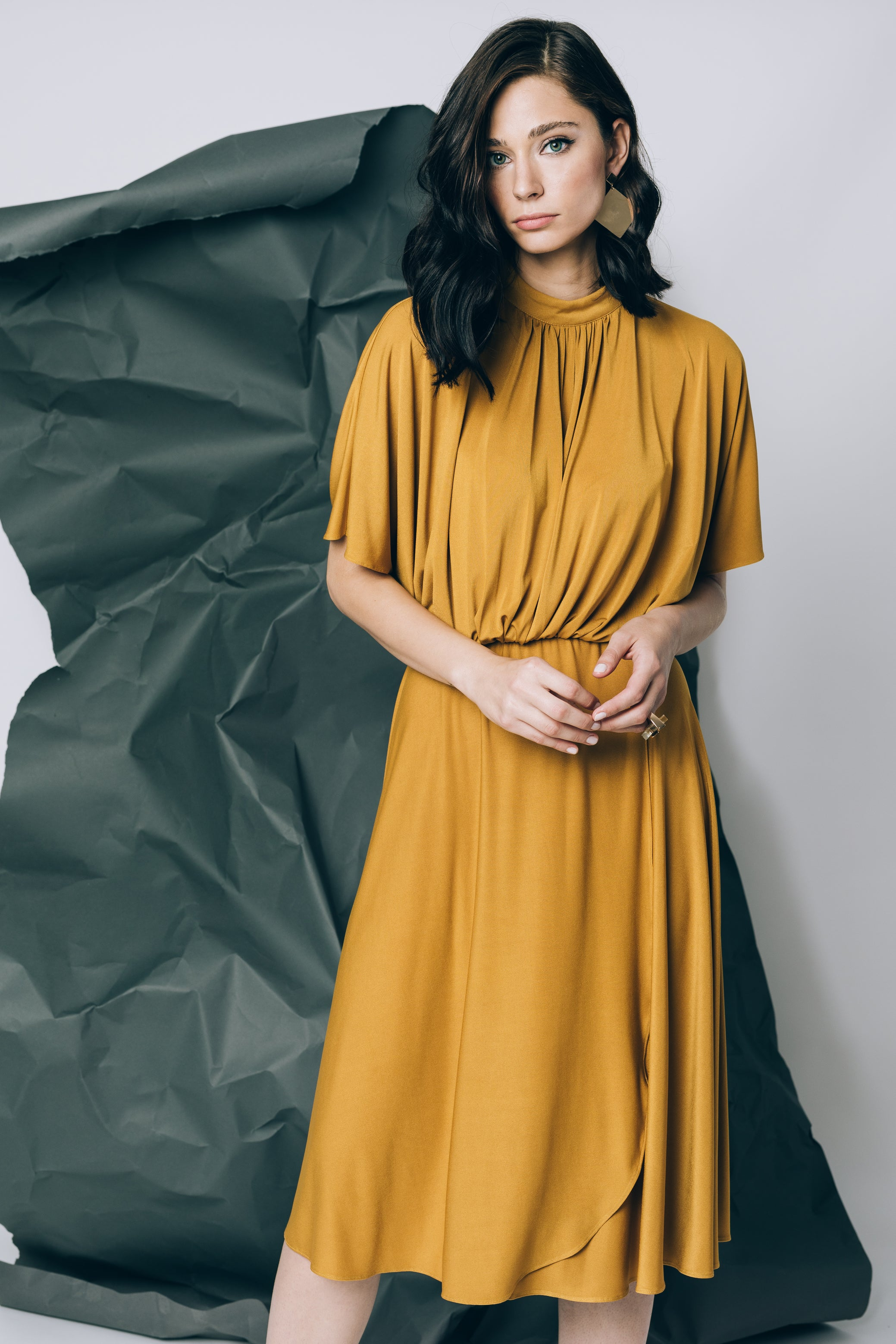 Midi dress in mustard yellow