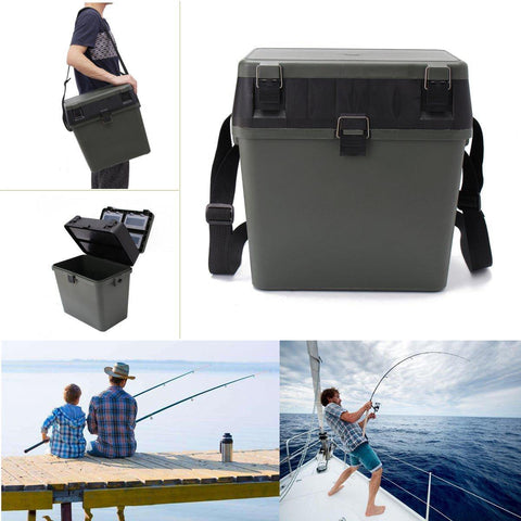 Image of Lightweight Fishing Box Tackle Seat Box Fishing Container Tray Bait Case Tool w/ 4 Removable Trays Shoulder Strap - BlueForce Sports