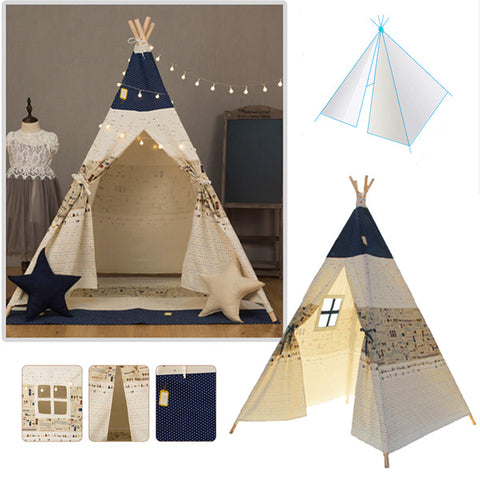 120 x 120 x 160cm Children Game Tent Foldable White and Blue Ribbon Pattern Teepee - BlueForce Sports