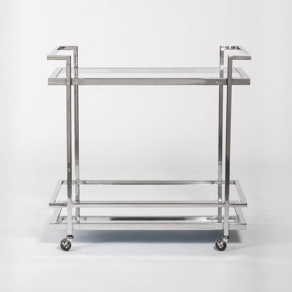Brentwood Bar Cart in Polished Chrome - Monroe & Kent Home