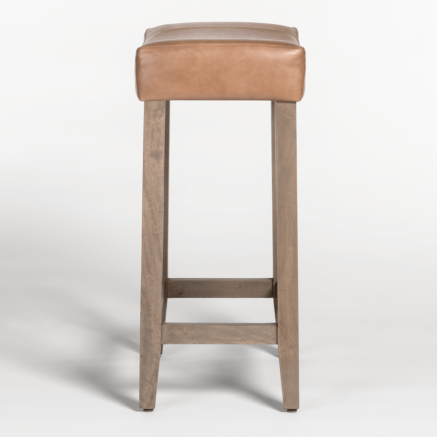 Knox Saddle Bar Stool in Refined Tobacco & Brindled Ash - Monroe & Kent Home (4703841353811)