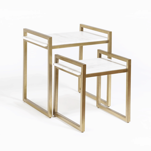 Santa Barbara Nesting Tables in Antique Brass - Monroe & Kent Home (4704260685907)