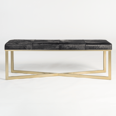 Scottsdale Bench in Ebony Hide - Monroe & Kent Home (4472719343699)