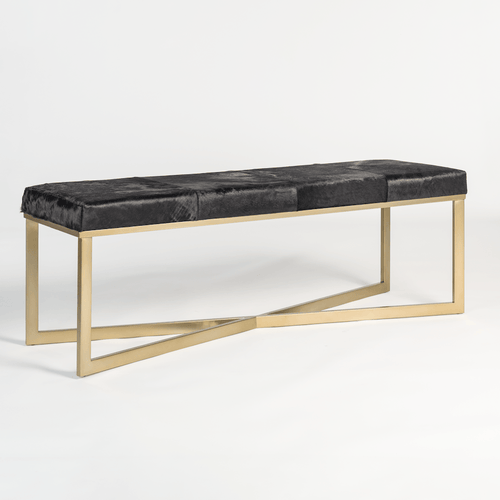 Scottsdale Bench in Ebony Hide - Monroe & Kent Home