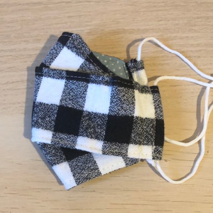 Black and white flannel box pleat mask - adult