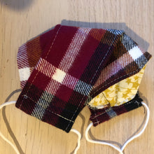 Load image into Gallery viewer, Cranberry plaid flannel box pleat mask