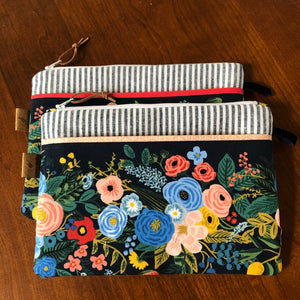 Navy Floral Zip Pouch