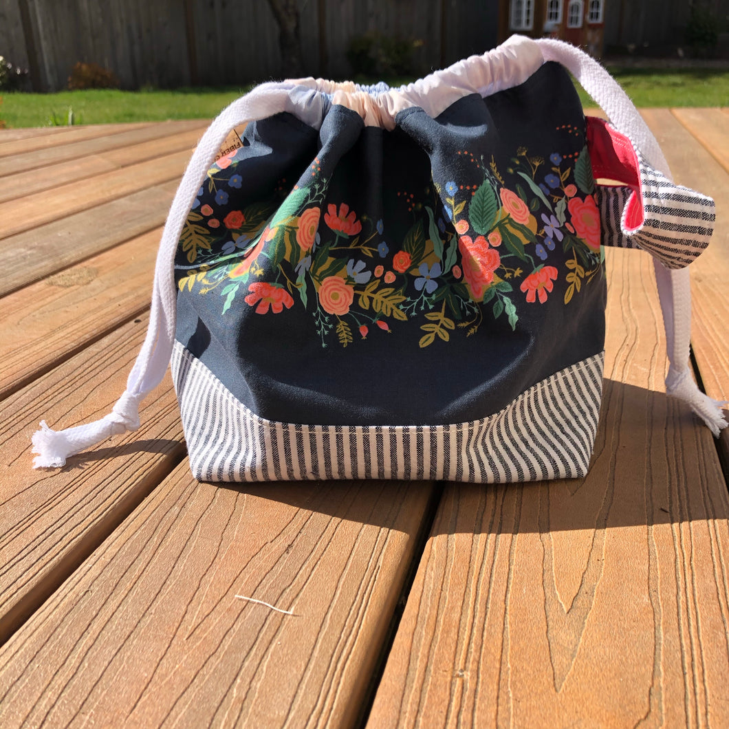 Floral with Navy Stripe Medium Project Bag
