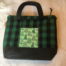 Load image into Gallery viewer, Green Plaid Flannel Mini Explorer Tote