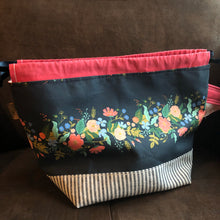 Load image into Gallery viewer, Floral with Navy Stripe Fiber Cozy